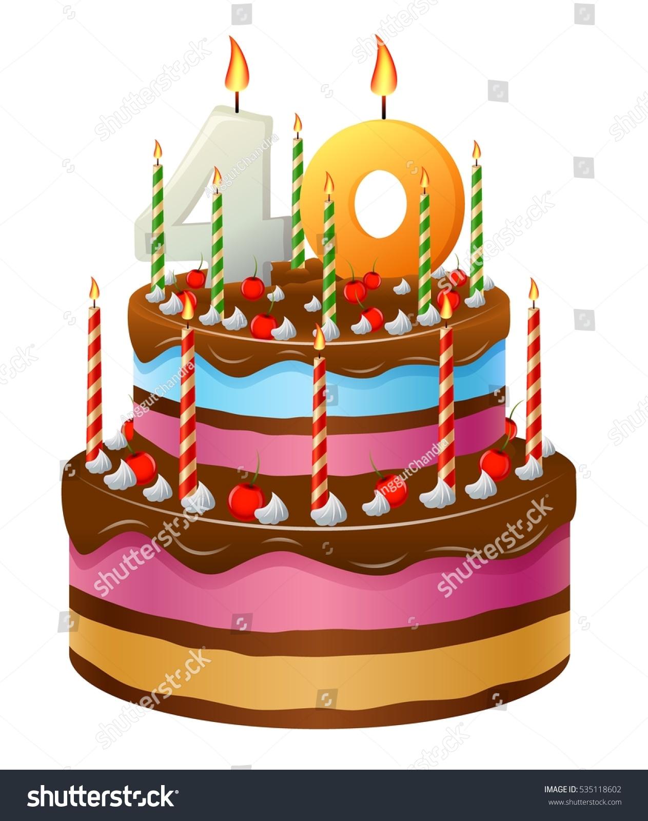 Happy Birthday Cake 40 Stock Vector Royalty Free 535118602