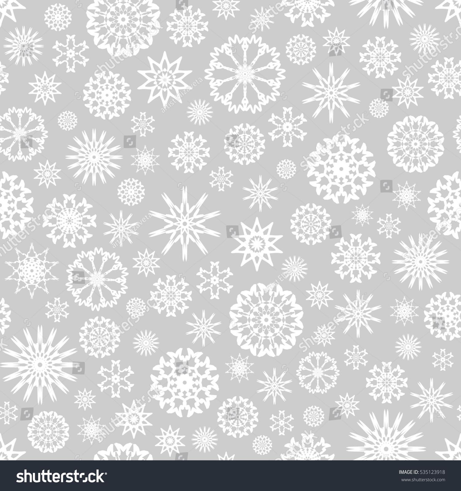Snowflakes Template   Seamless Christmas Background White Snowflakes Template Stock Vector