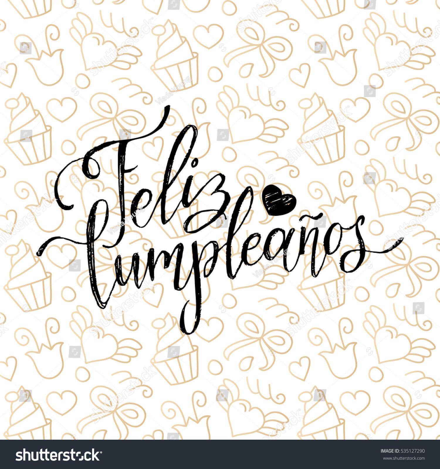 Vector feliz cumpleanos translated happy birthday - Feliz cumpleanos letras ...