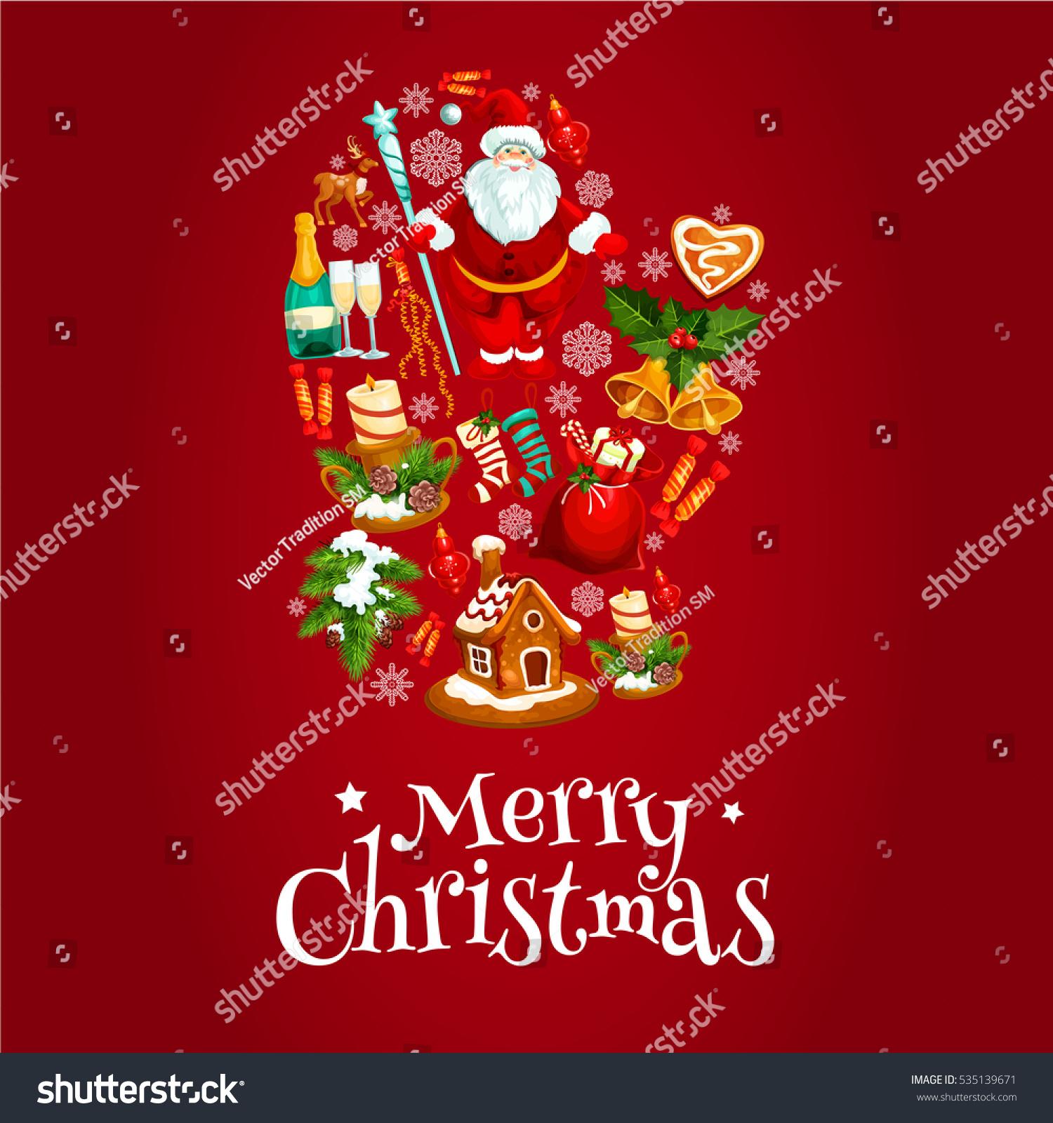 Christmas Card Mitten Gift Bag Santa Stock Illustration 535139671 ...