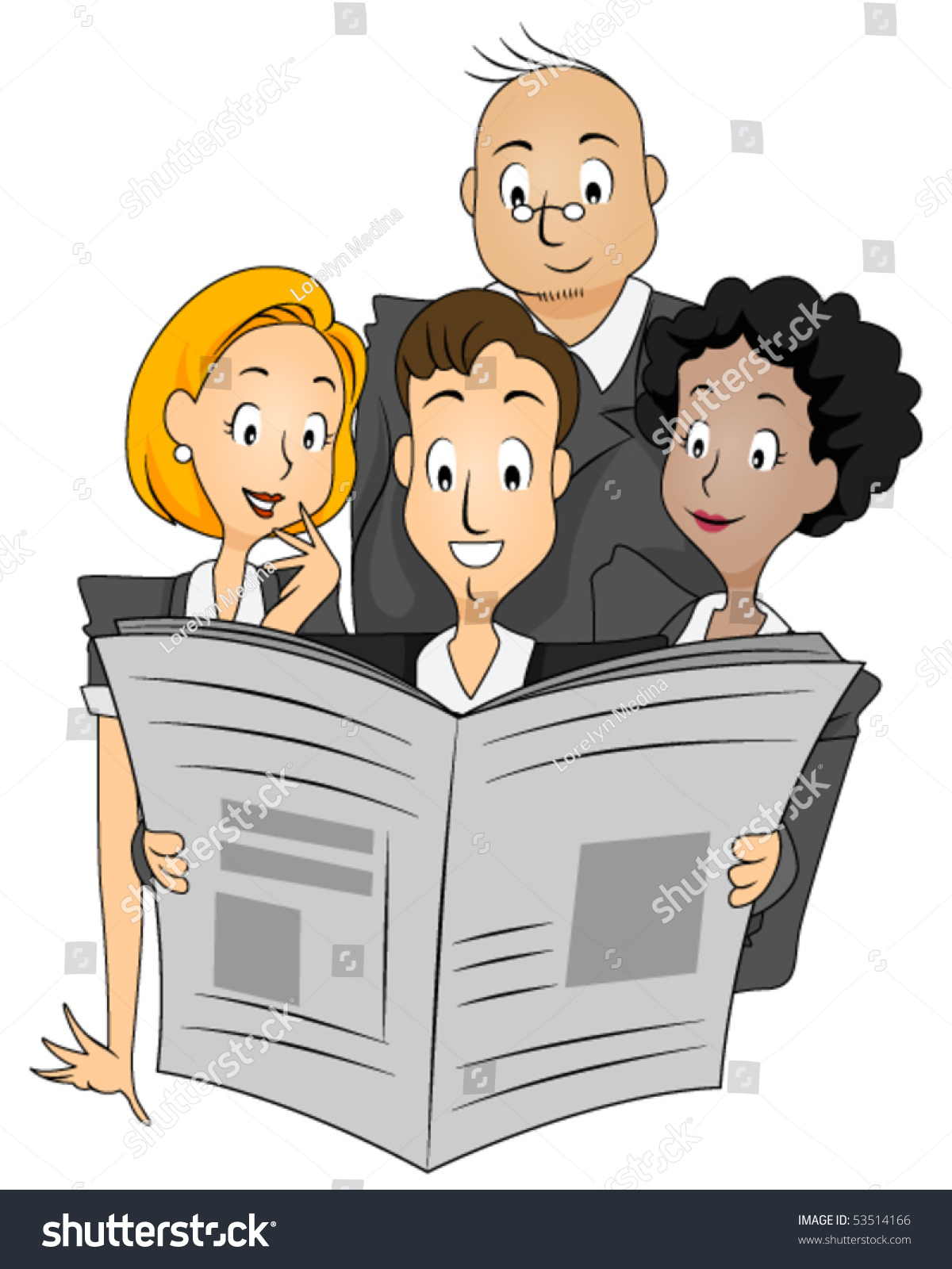 business people reading newspaper vector stock vector (royalty free