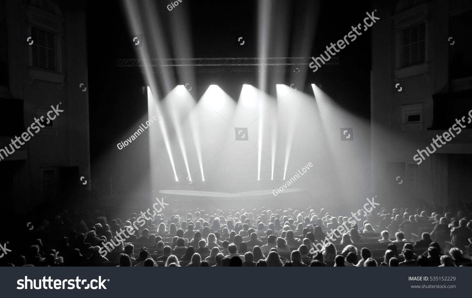 Black White Silhouettes Concert Crowd Front Stock Photo ...