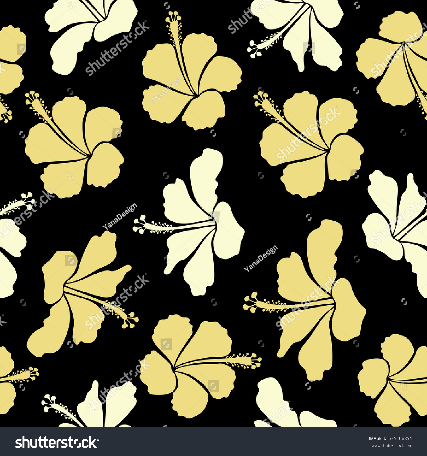 Floral On A Black Background Tropical Floral Seamless Pattern With