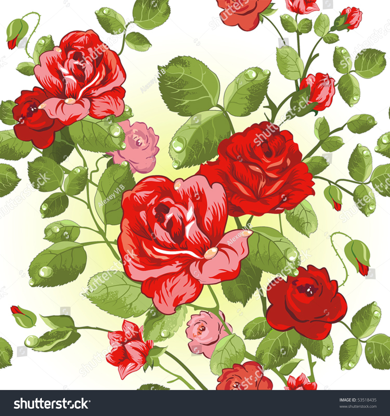 Seamless Wallpaper Pattern Collection Red Roses Stock Vector