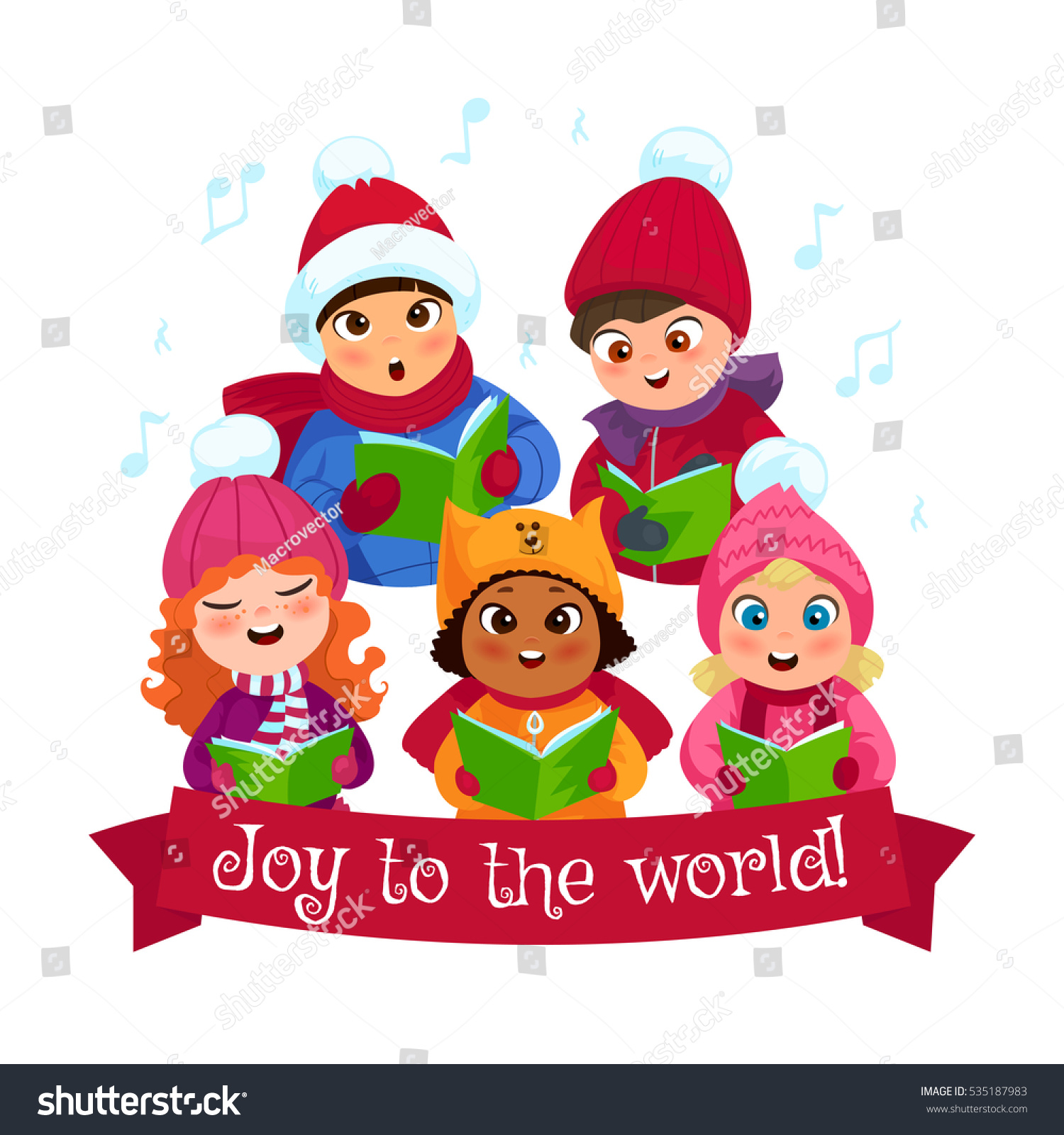Little Kids Winter Clothing Singing Christmas Stock Vector (Royalty ...
