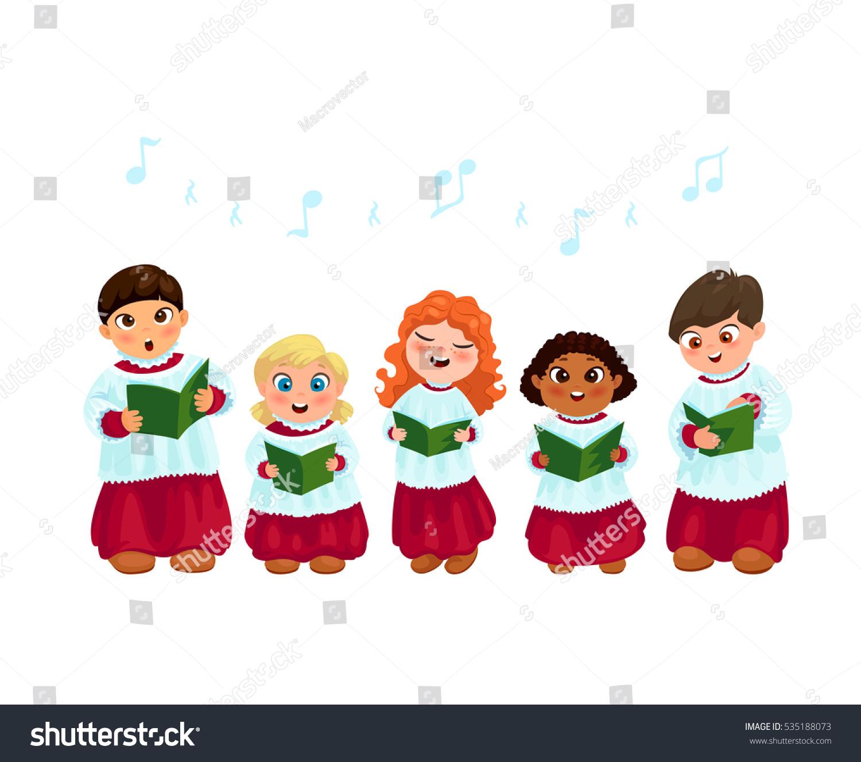 Little Kids Church Costumes Going Christmas Stock Vector 535188073 ...