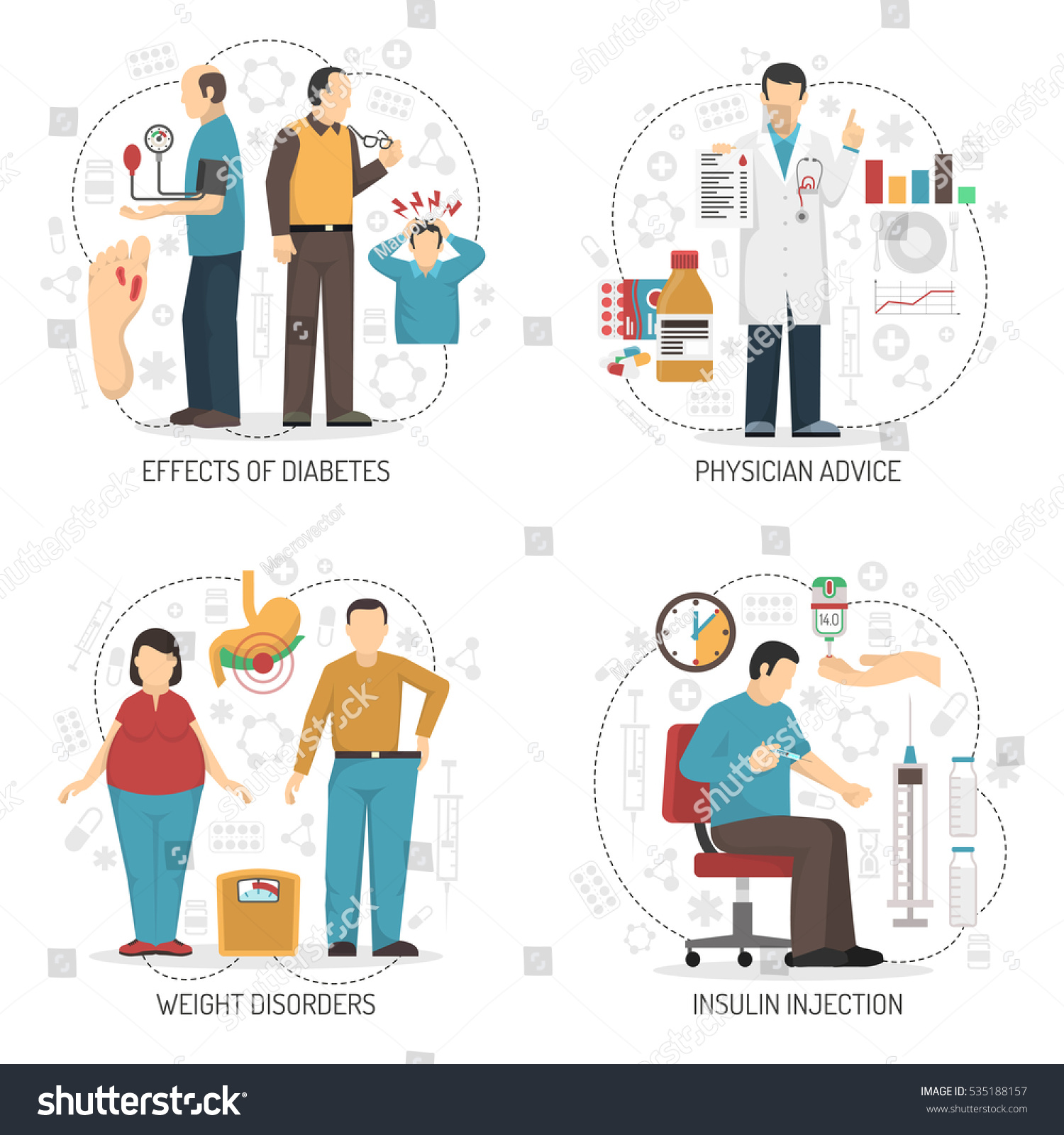 Diabetic Injection Sites: Diabetes 2x2 Design Concept Set Symptoms Stock Vector