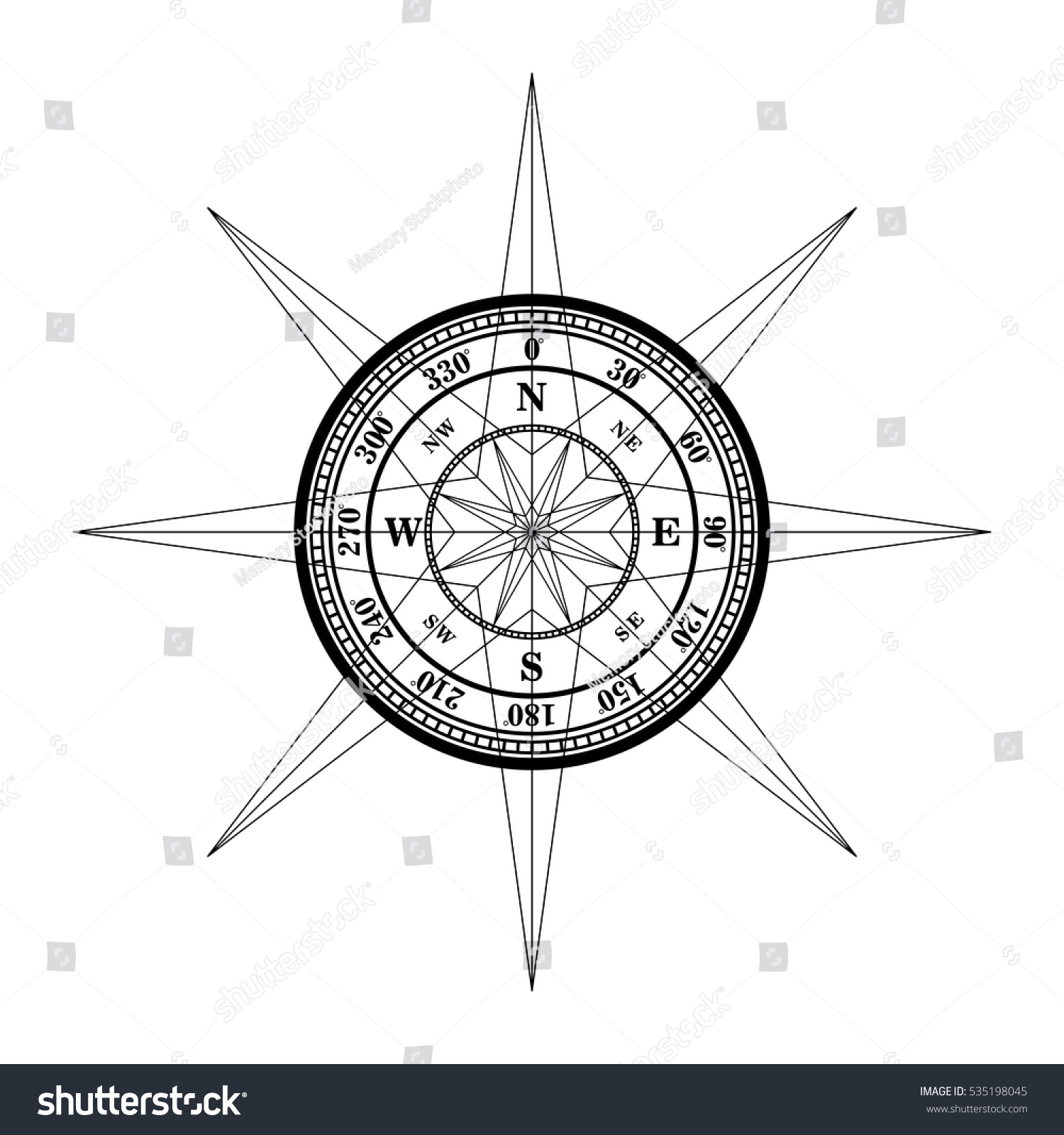 Compass Tattoo Vector Design Stock Vector Royalty Free 535198045