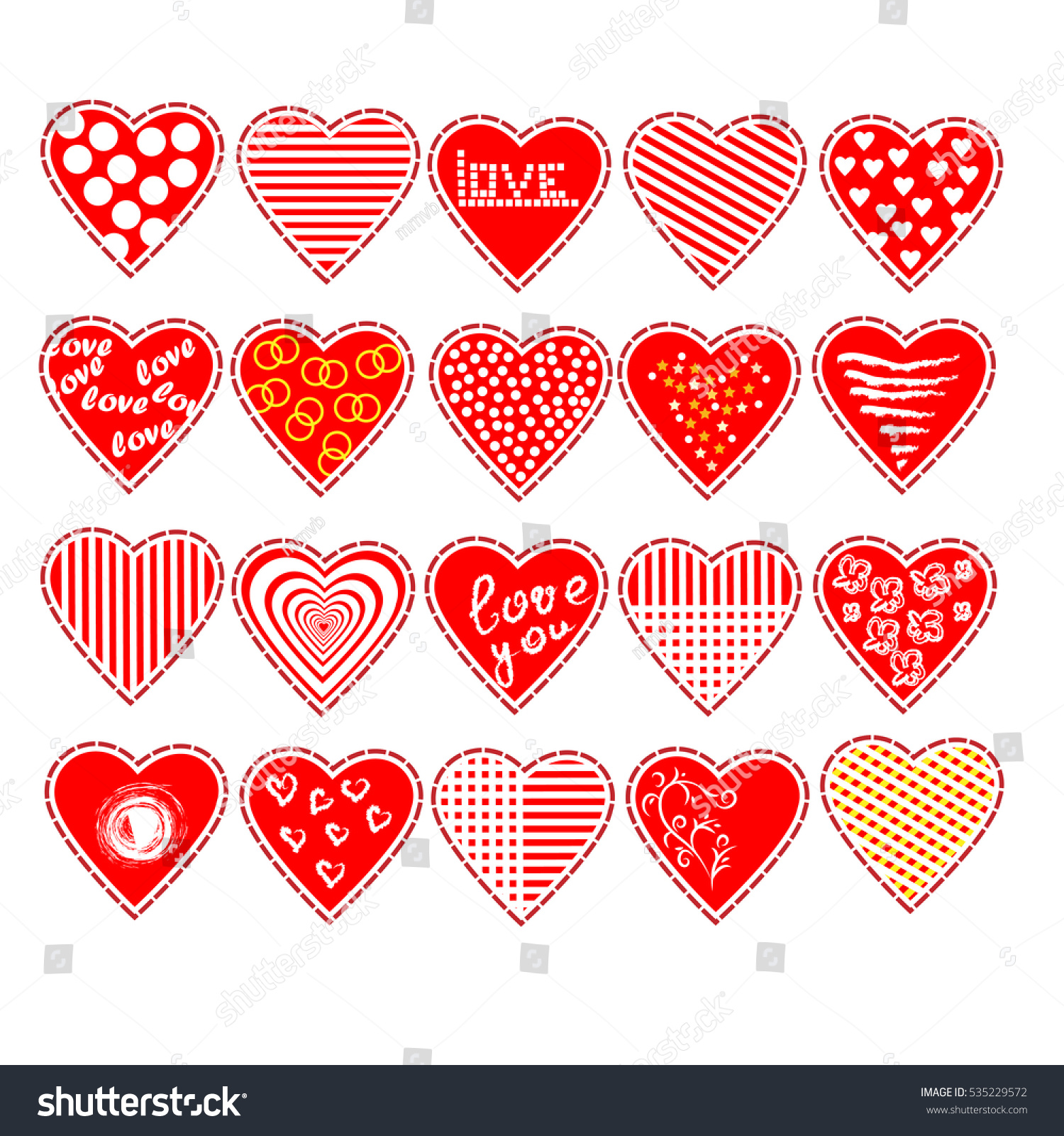 Set of vector hearts. To design Valentine\'s Day, wedding invitations ...
