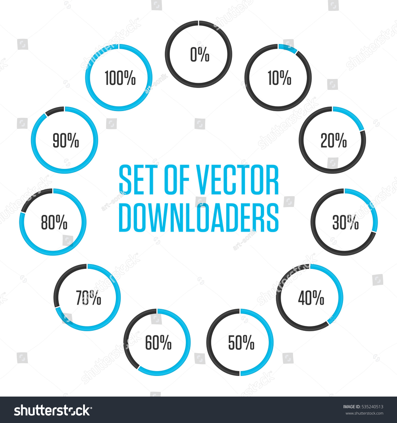 Icons Pie Graph Circle Percentage Blue Stock Vector (Royalty Free ...