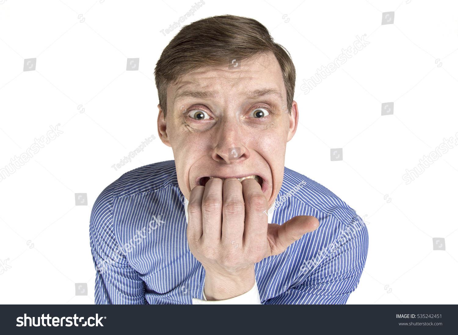 Scared Man Biting His Nails Stock Photo 535242451 - Shutterstock