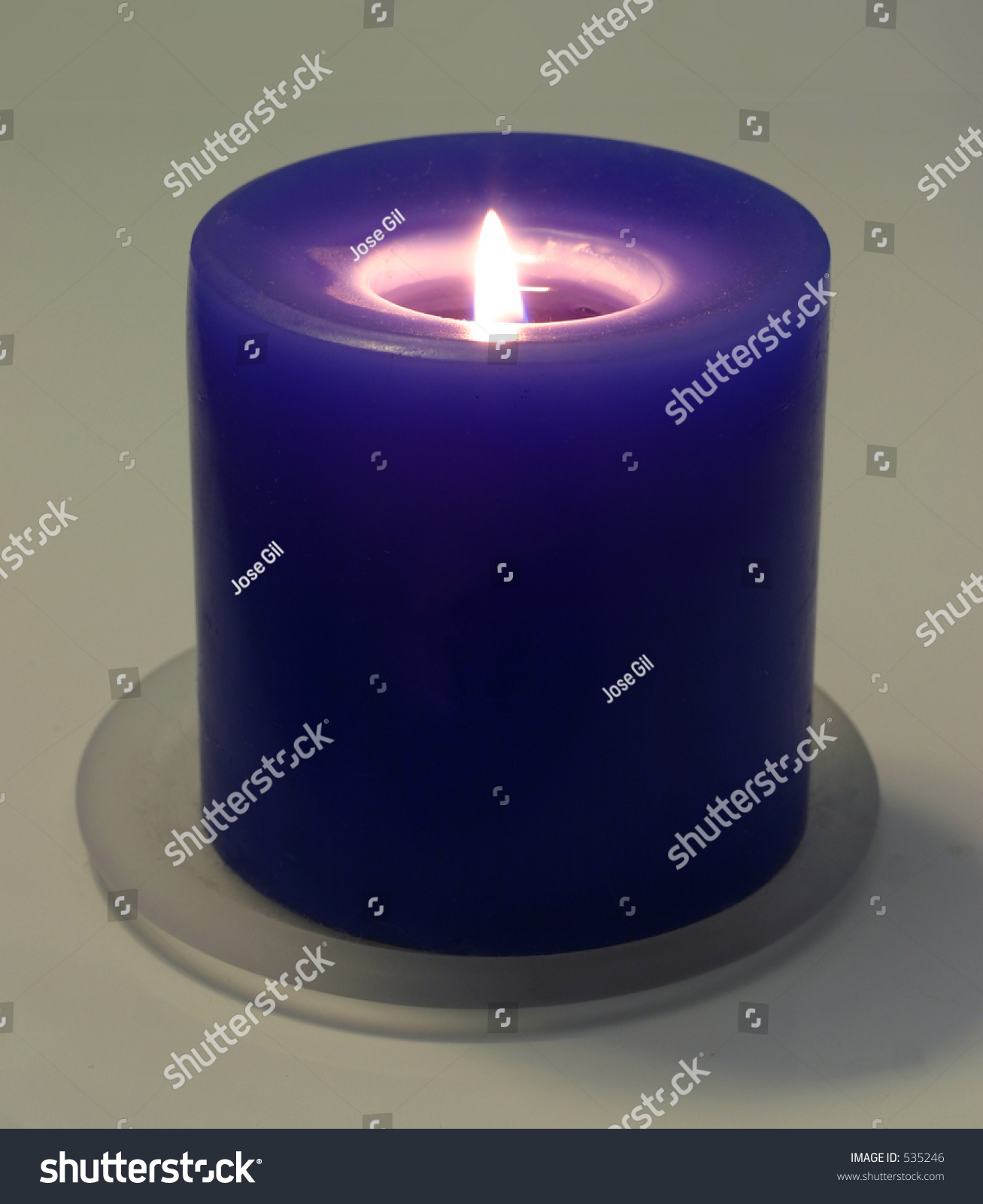 Blue Candle Alight On White Background Stock Photo 535246 ... for Blue Candle White Background  58cpg