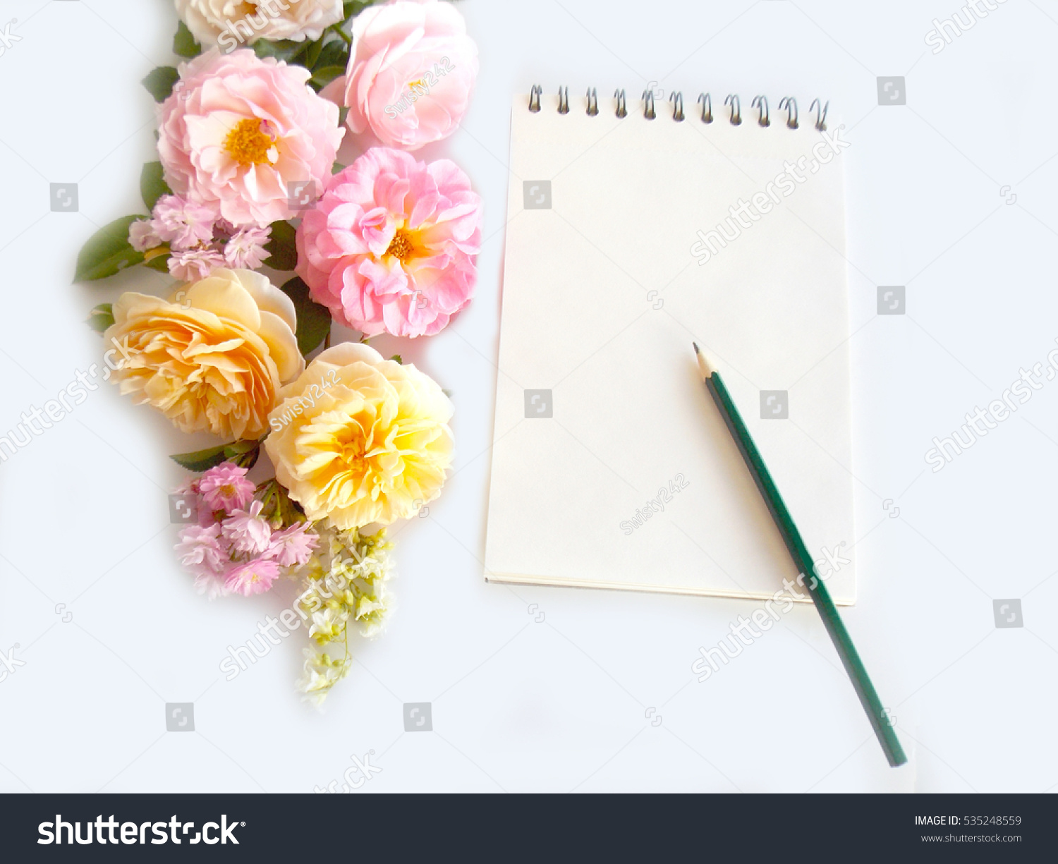 Beautiful english rose bouquet flower notepad stock photo edit now beautiful english rose bouquet flower with notepad izmirmasajfo