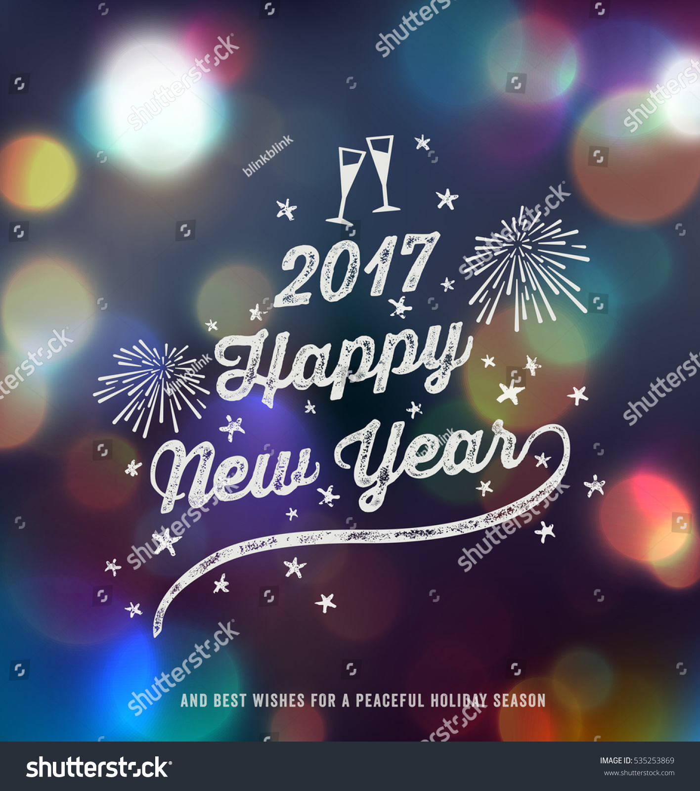 New year greeting card happy new stock vector 535253869 shutterstock new year greeting card happy new year 2017 handwritten typography over blurred background kristyandbryce Images