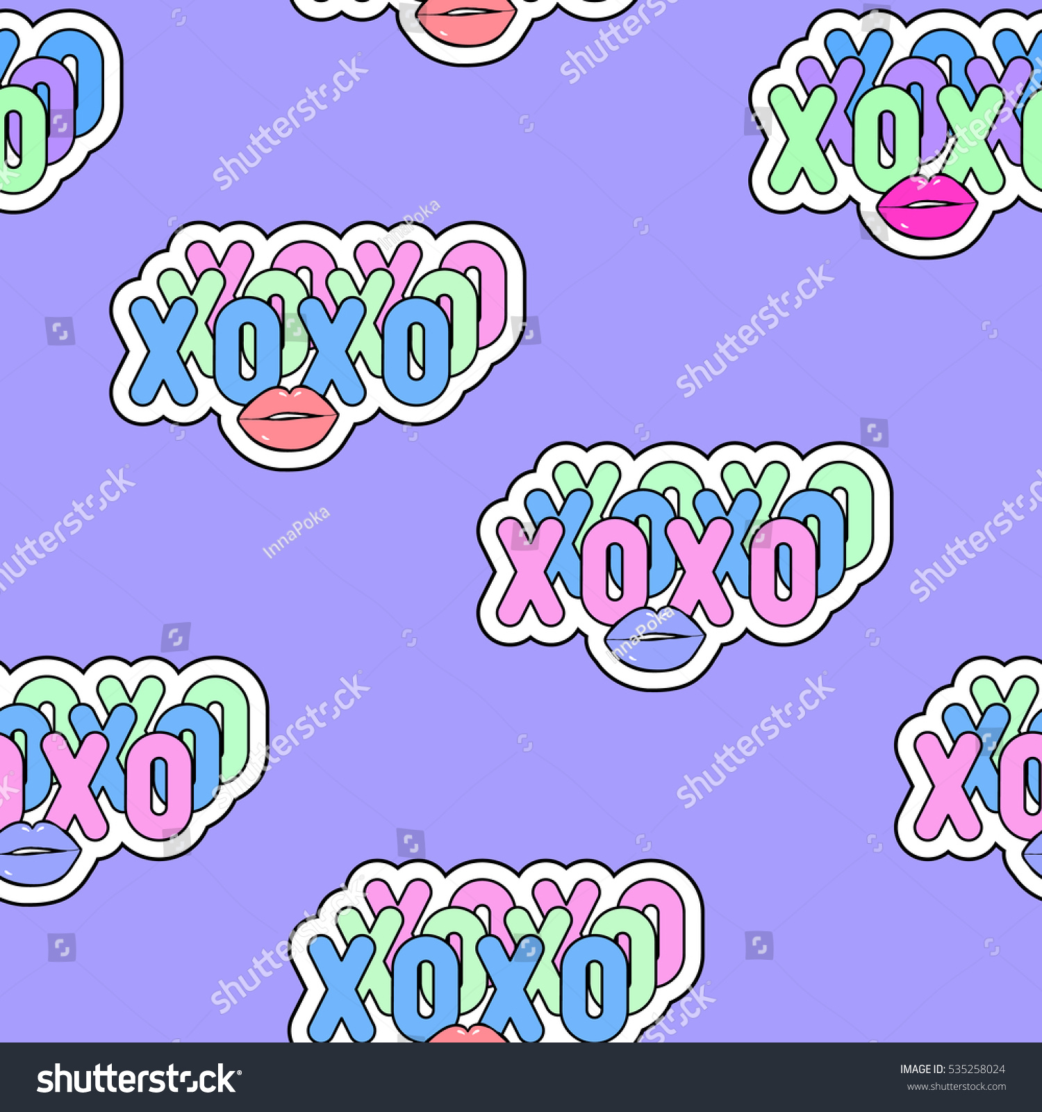 Seamless Pattern Xoxo Abbreviation Text Kiss Stock Vector 535258024
