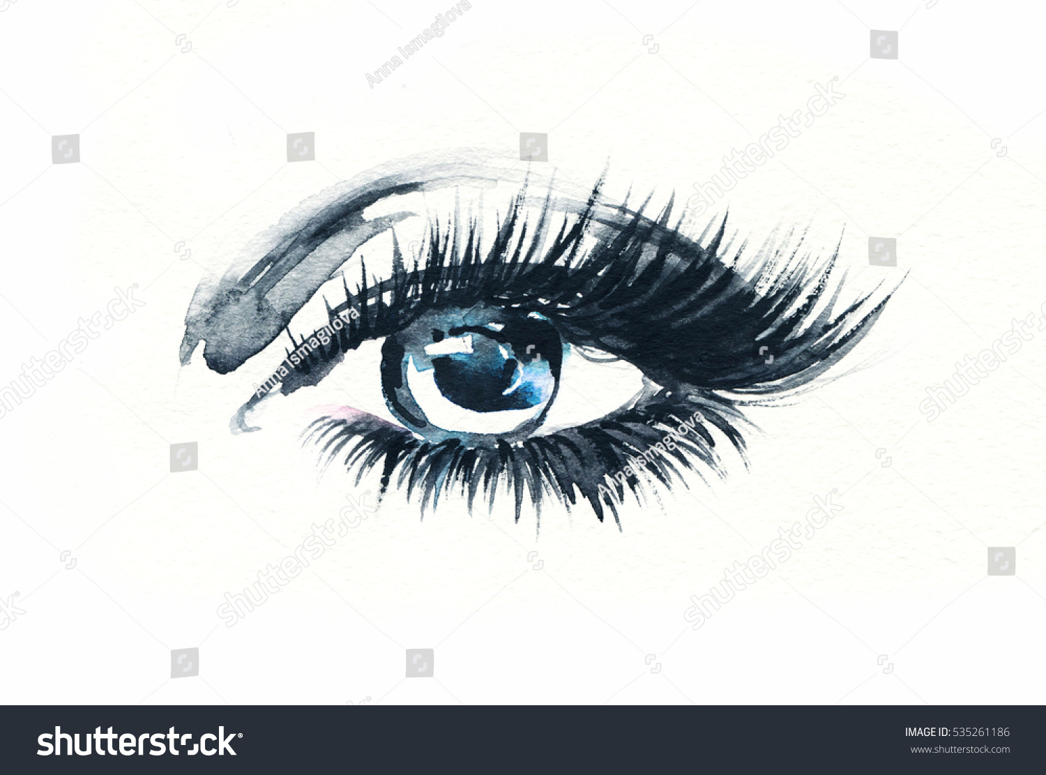 Eye Makeup Fashion Watercolor Illustration Stock Illustration
