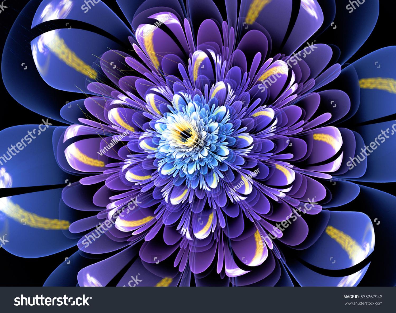 3 d flowers fractal glass effects stock illustration 535267948