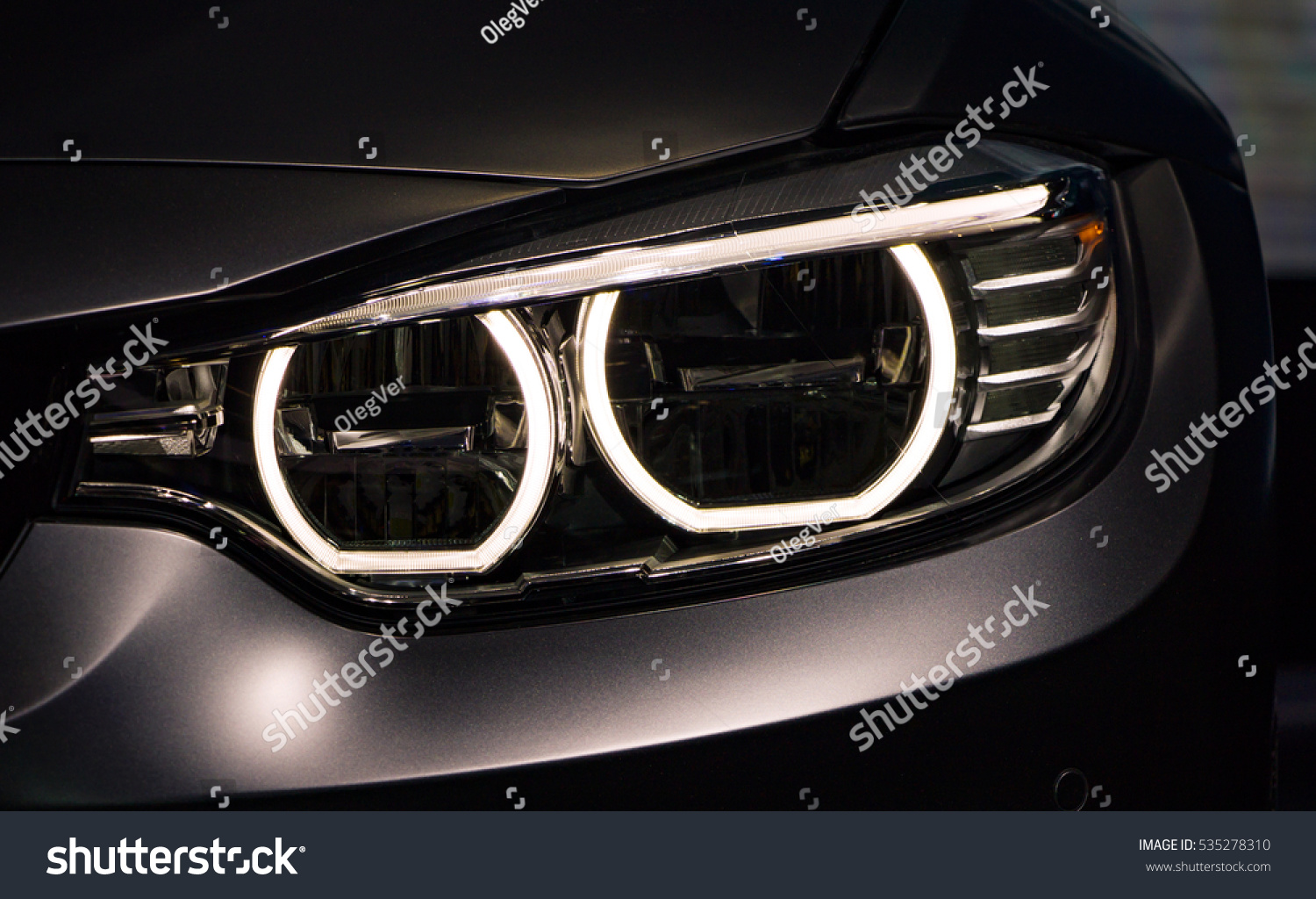 Left Headlight By Night Car Detail Stock Photo Edit Now 535278310