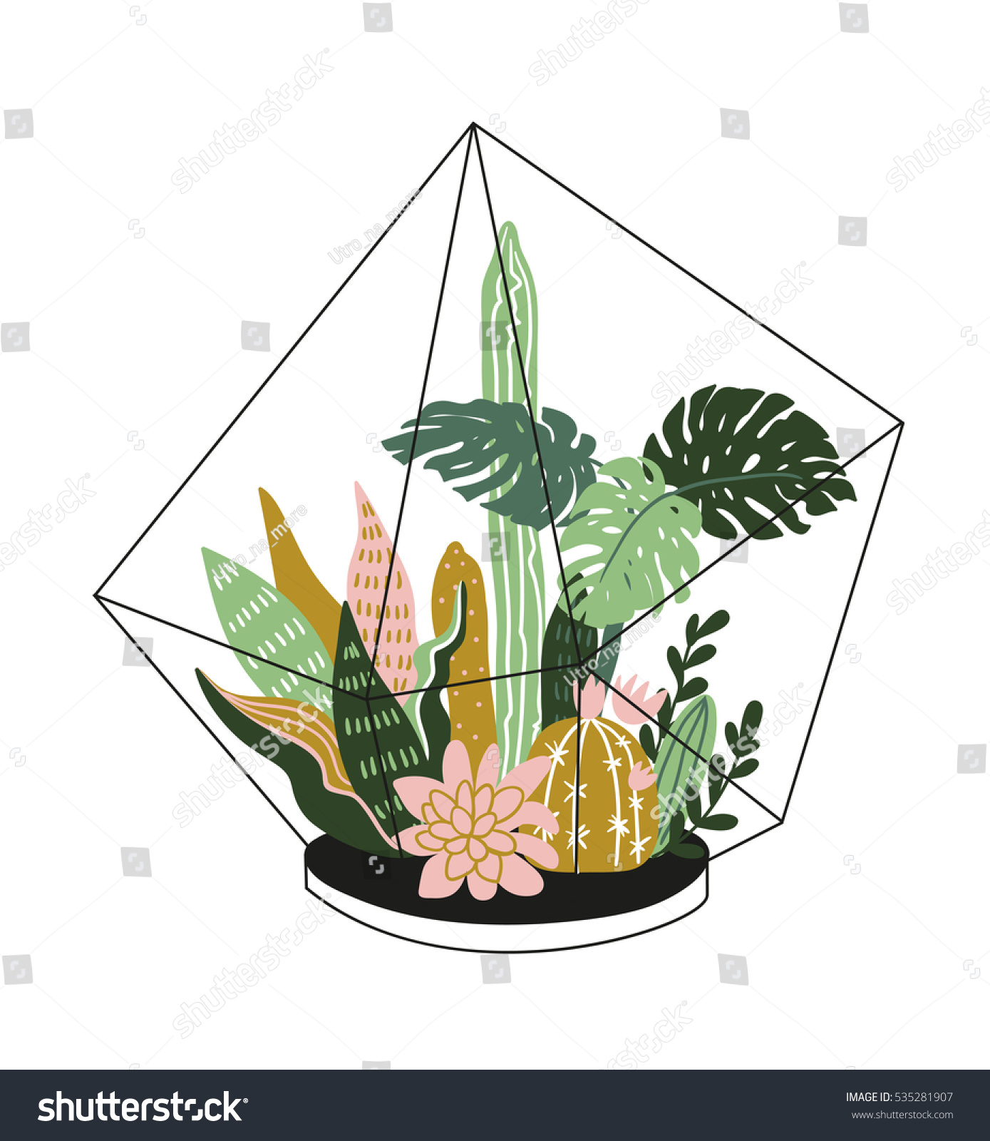 hand drawn contained tropical house plants stock vector 535281907