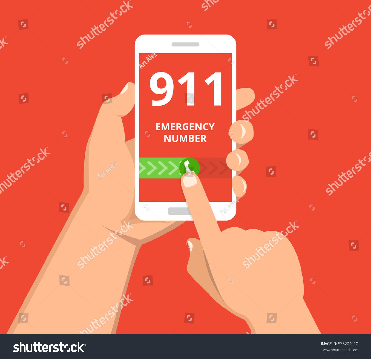 Emergency call 911 concept Hand holding mobile phone with emergency number on the screen Flat vector illustration
