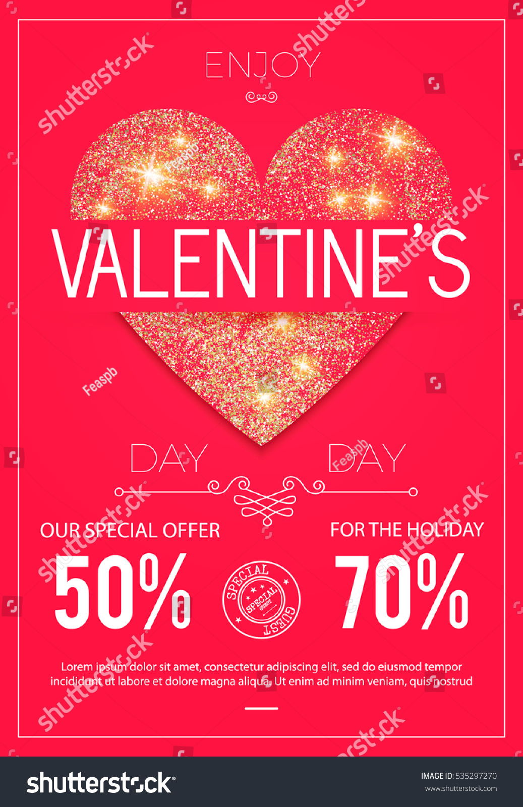 Happy Valentines Day Poster Realistic Heart Stock Vector (Royalty ...