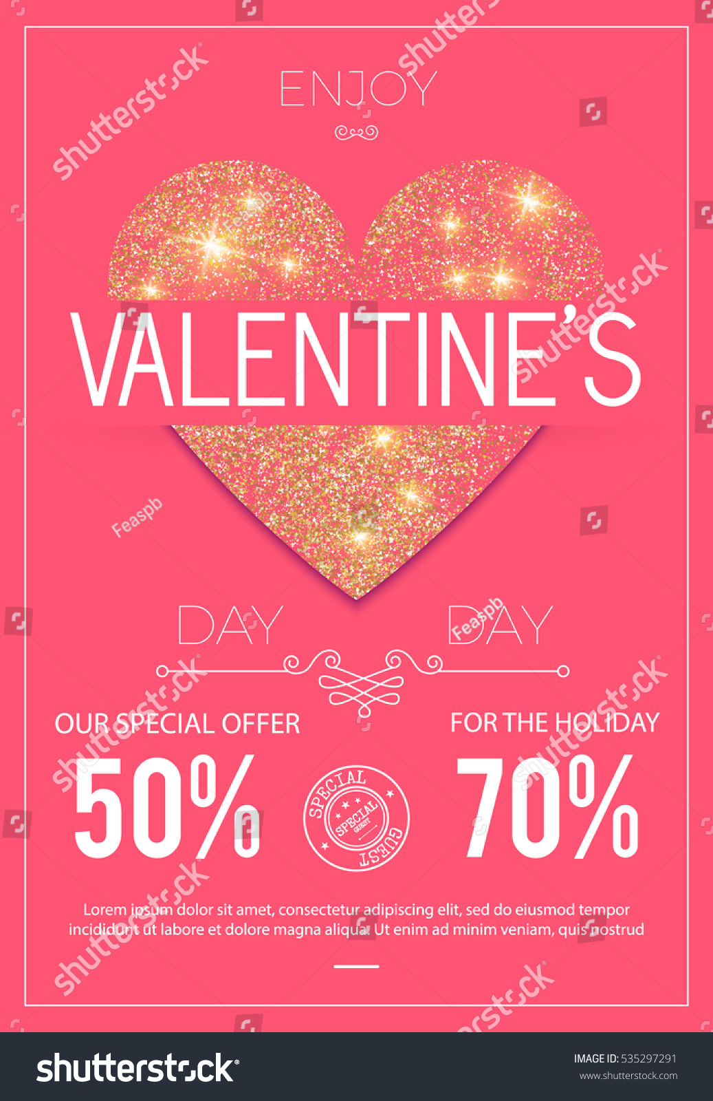 Happy Valentines Day Poster Shining Textured Stock Vector (Royalty ...