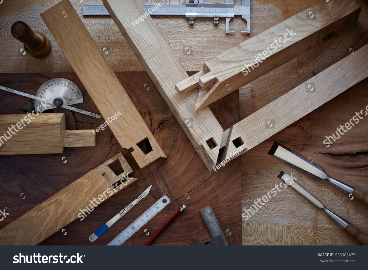 Overhead Shot Intricate Japanese Joinery Hand Stock Photo Edit Now