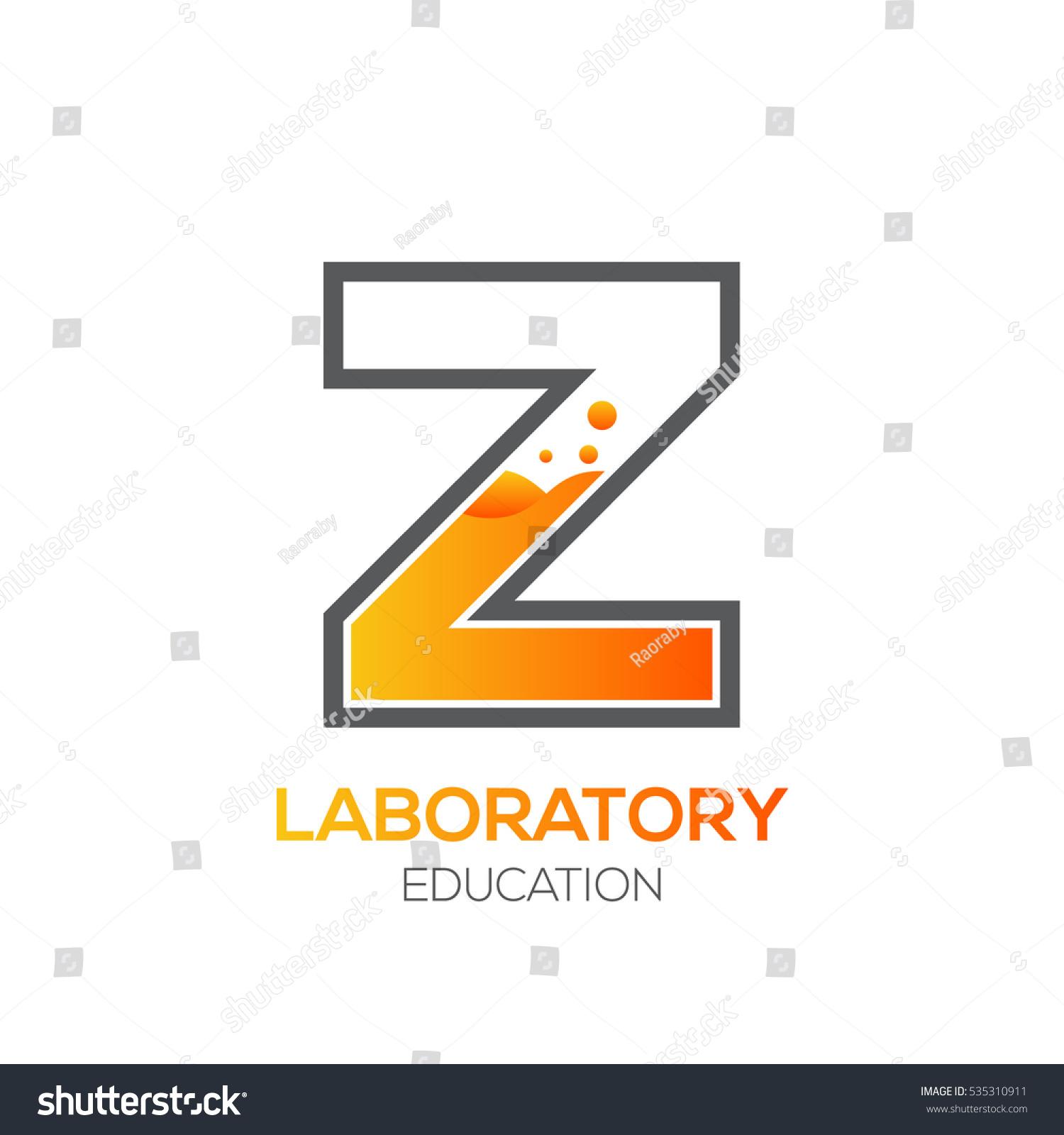 Letter Z Orange Color Science Education Laboratory Chemical