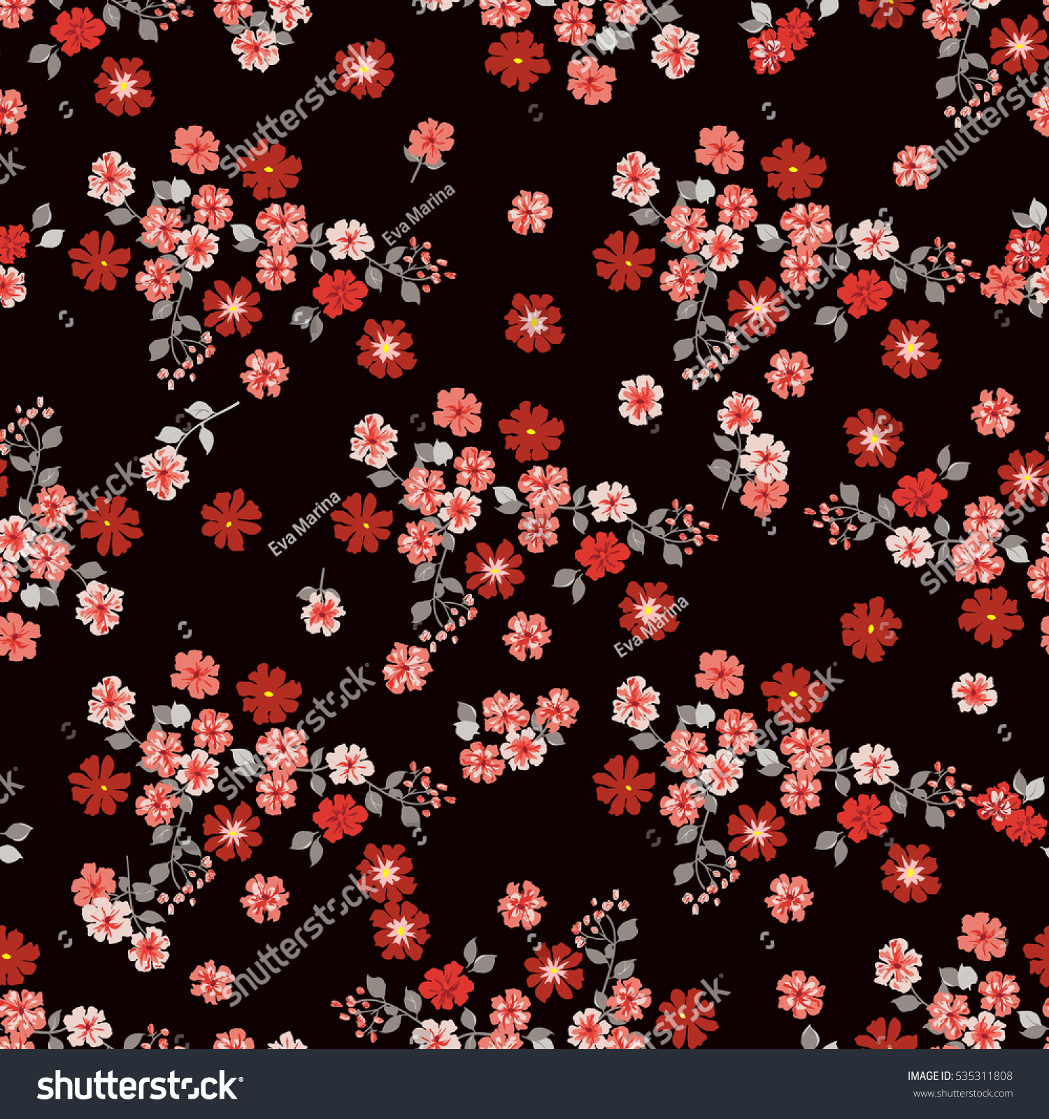 Simple Cute Pattern Smallscale Red Flowers Stock Vector Royalty Free 535311808