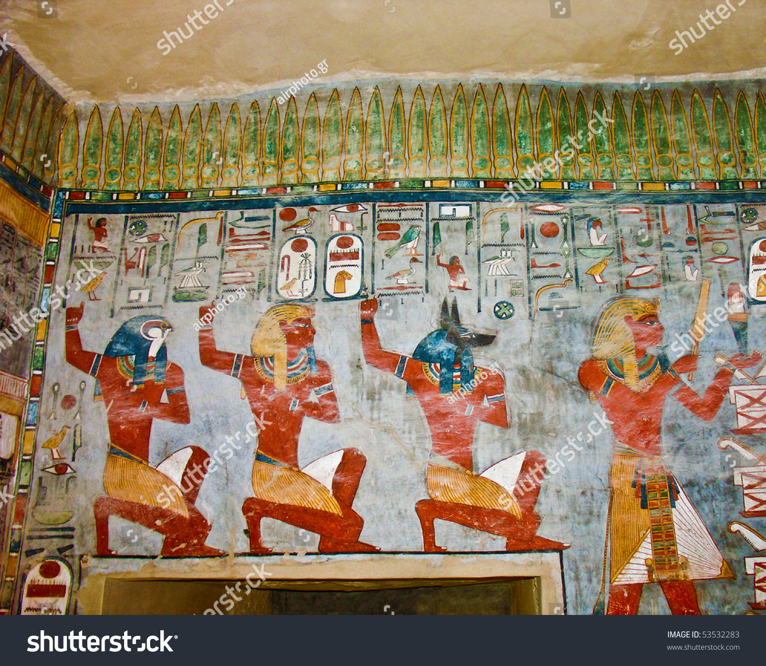 Ancient egyptian gods hieroglyphs wall painting stock for Ancient egyptian mural