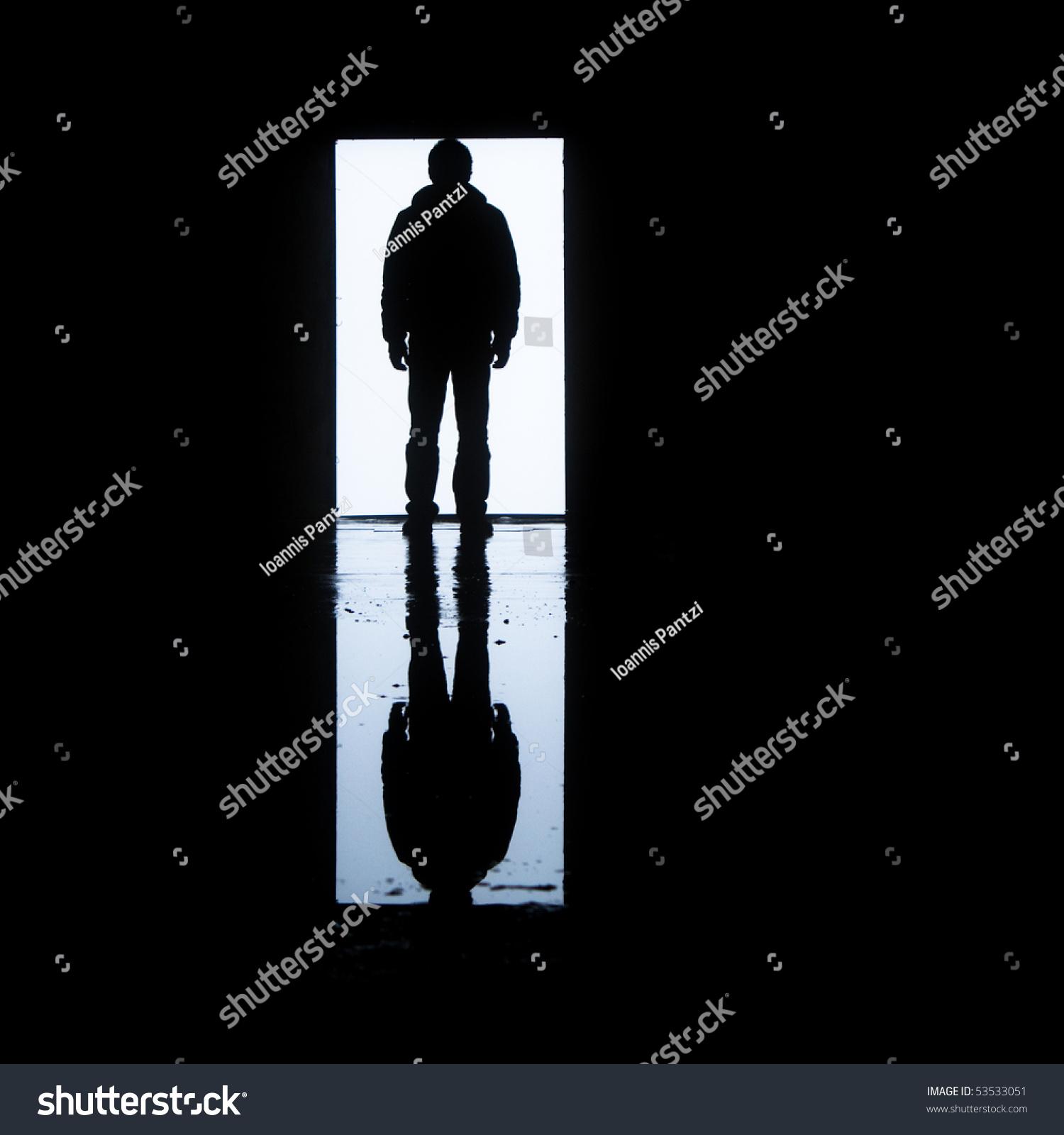 Man Standing Front Door His Image Stock Photo 53533051
