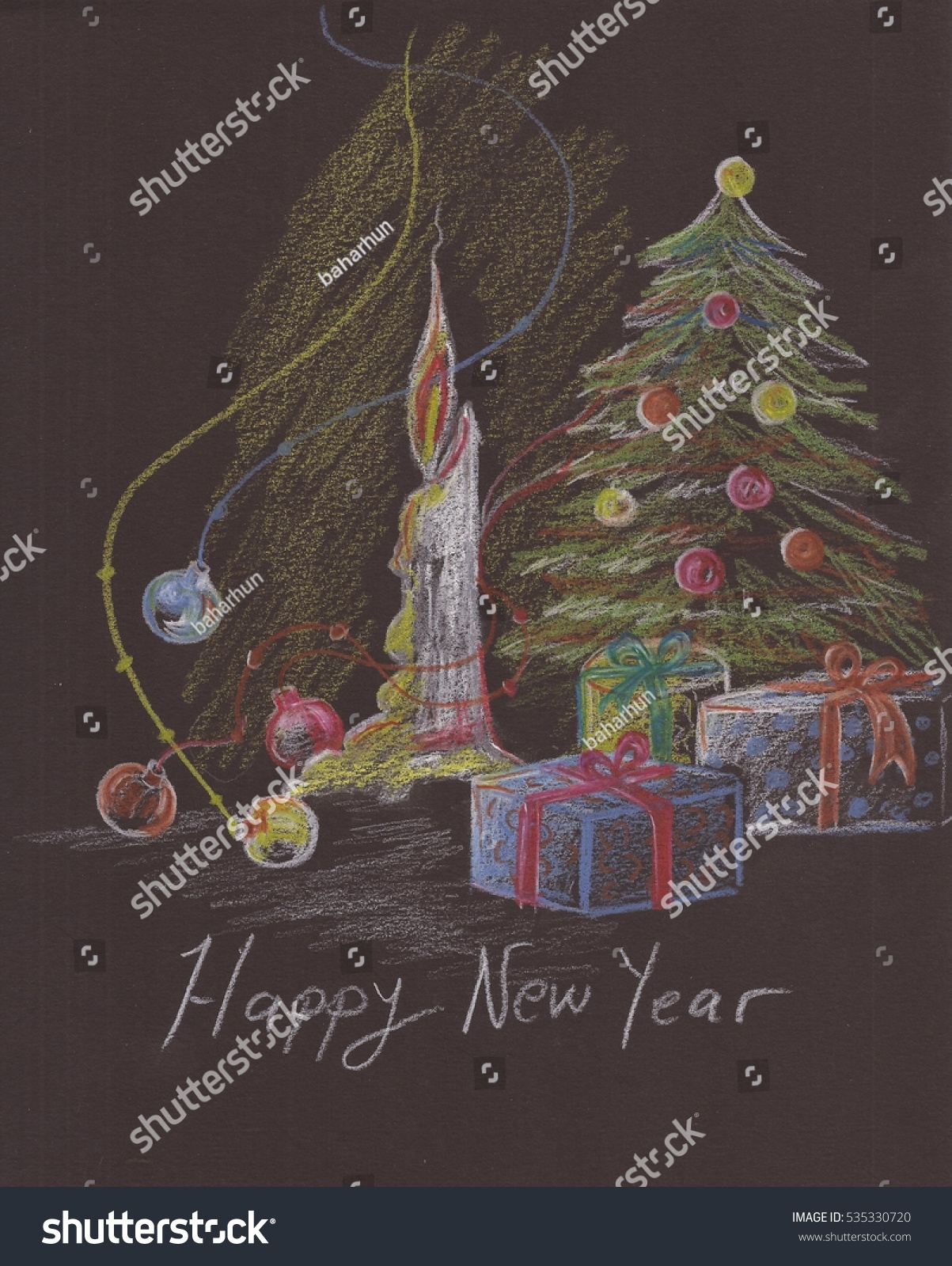 Christmas candle presents and tree with pencil drawing on black paper background