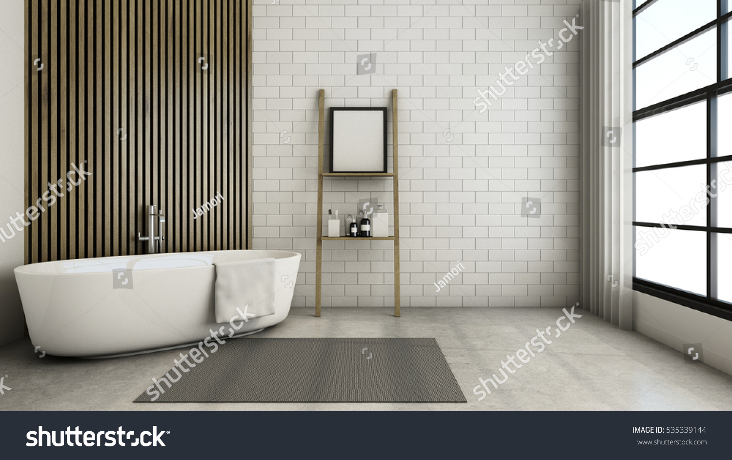 Bathroom Design Modern Loft 3 D Render Stock Illustration 535339144 ...