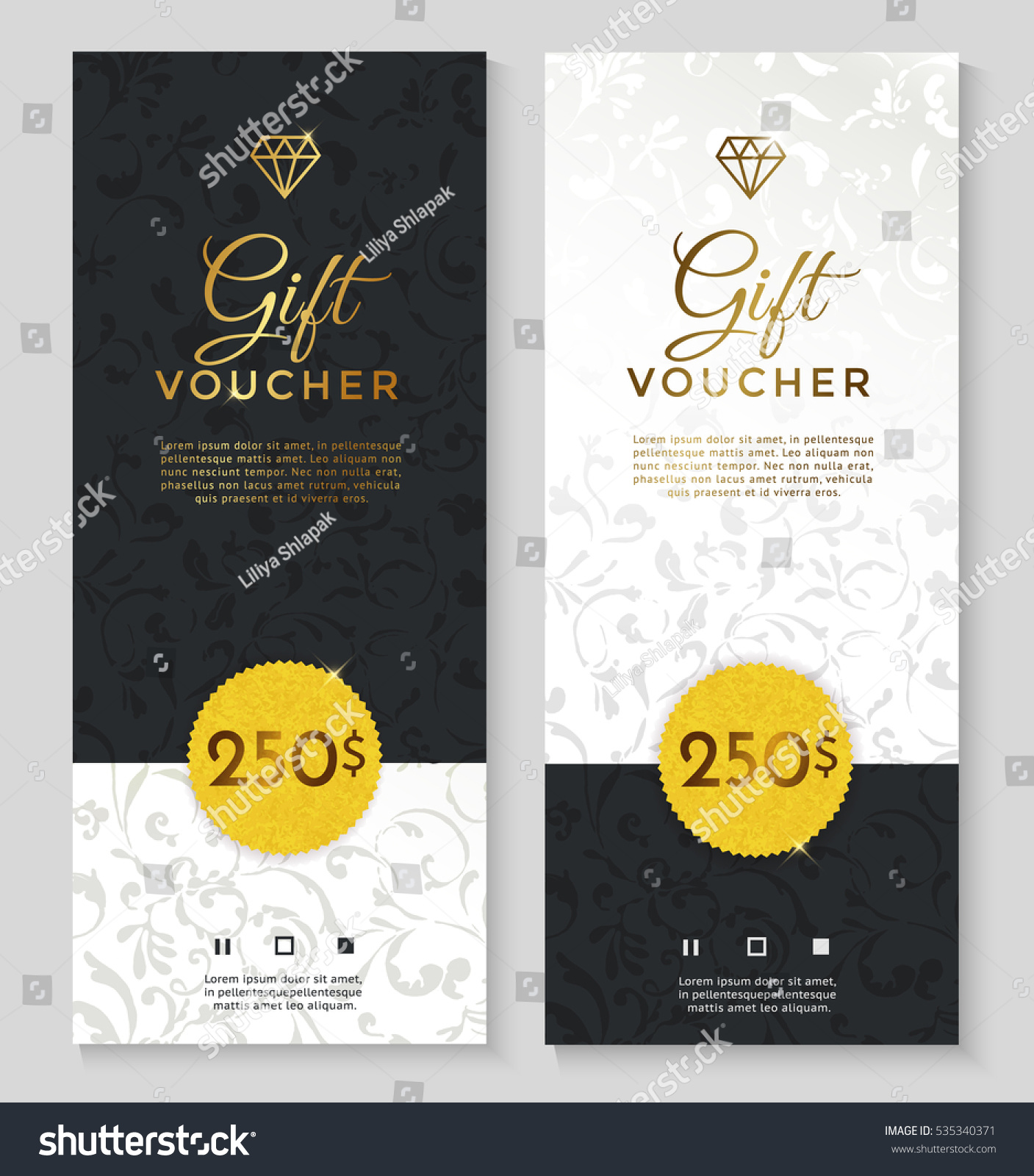 Luxury Style Gift Voucher Template Design Stock Vector HD (Royalty ...