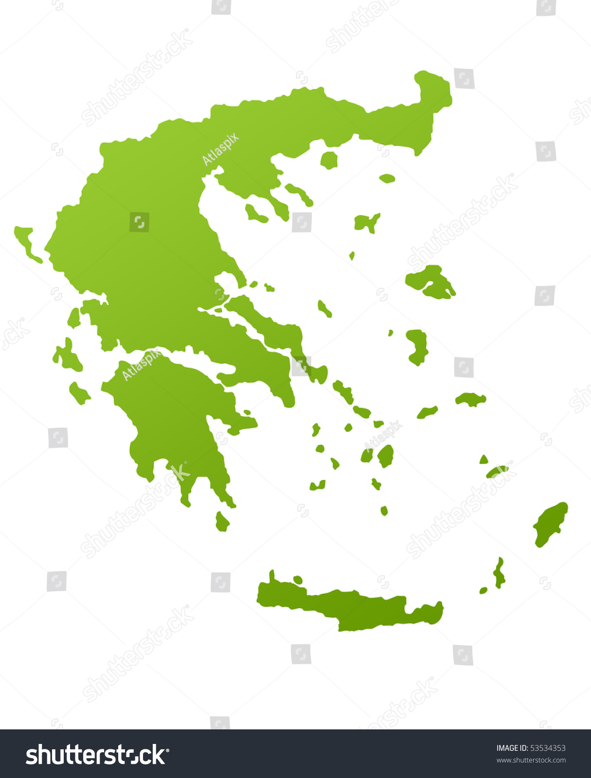 Greece greek islands map green isolated stock illustration 53534353 greece or greek islands map in green isolated on white background gumiabroncs Image collections