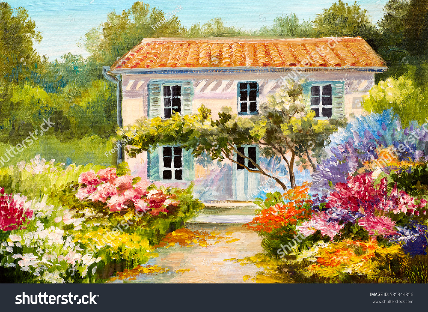 Oil painting on canvas of a beautiful house and flowers abstract drawing watercolor art