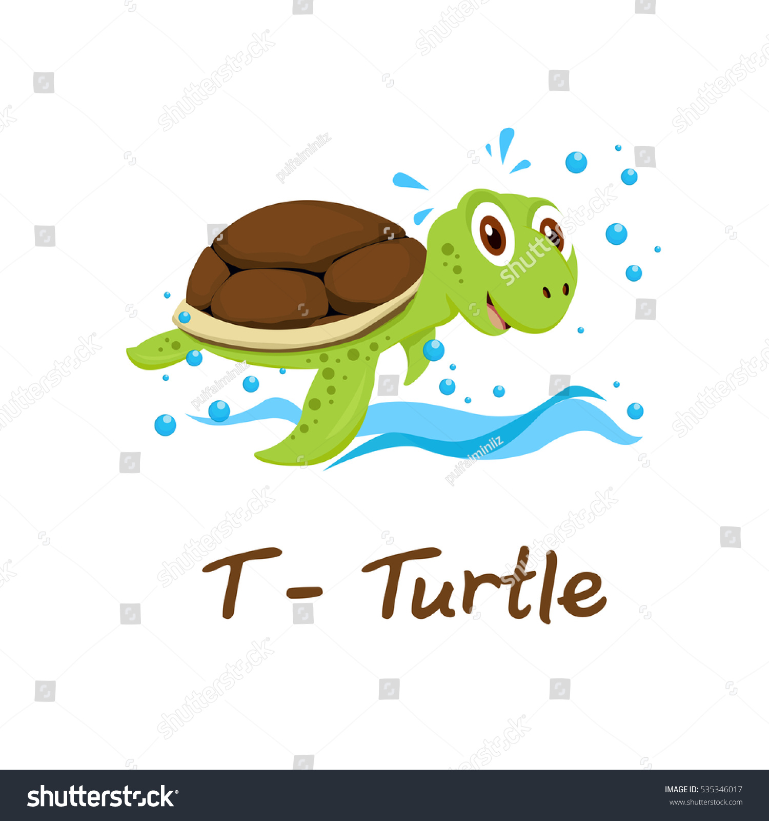 Isolated Animal Alphabet Kids T Turtle Stock Vector