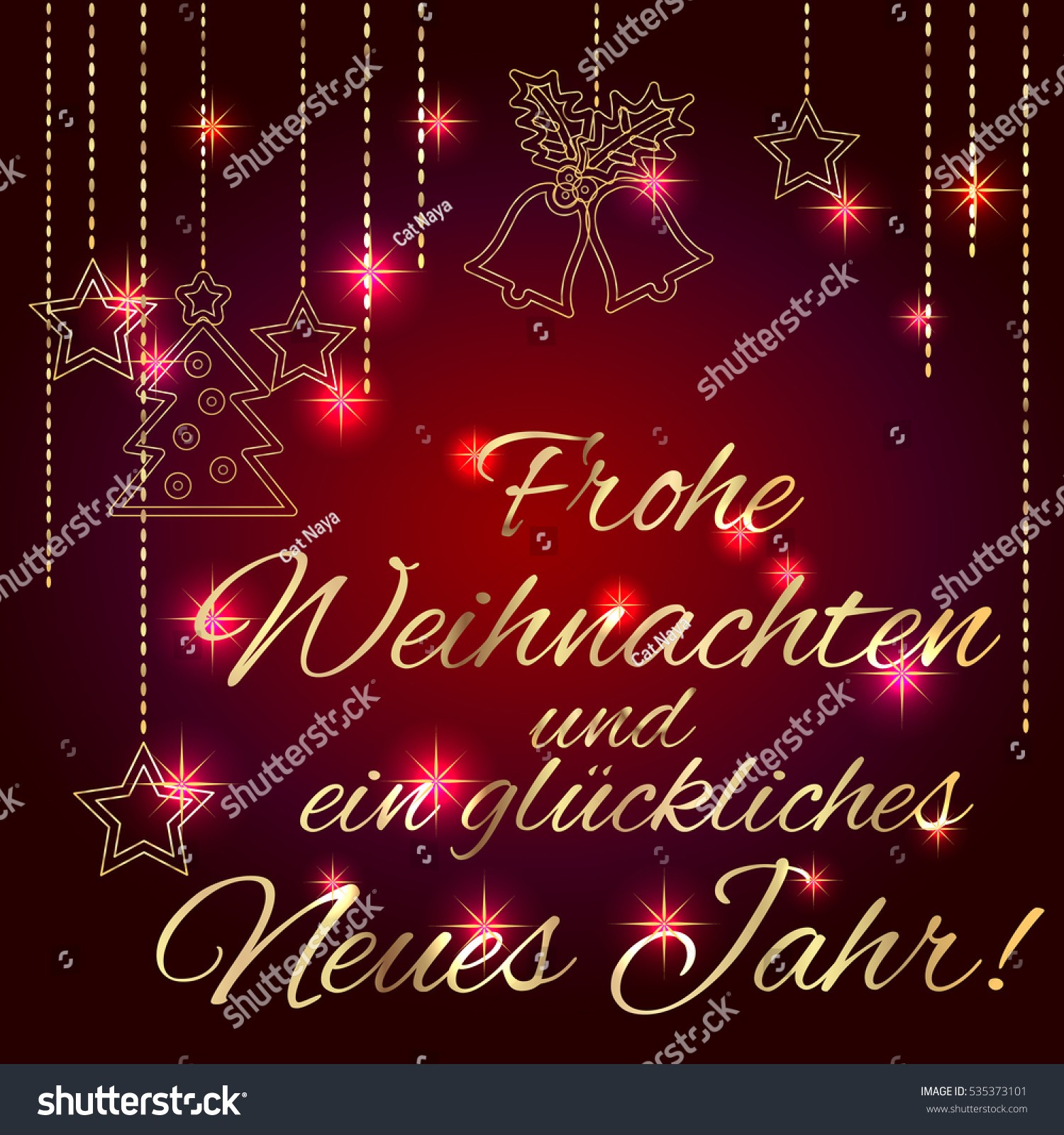 merry christmas and happy new year card template with greetings in german language luxury