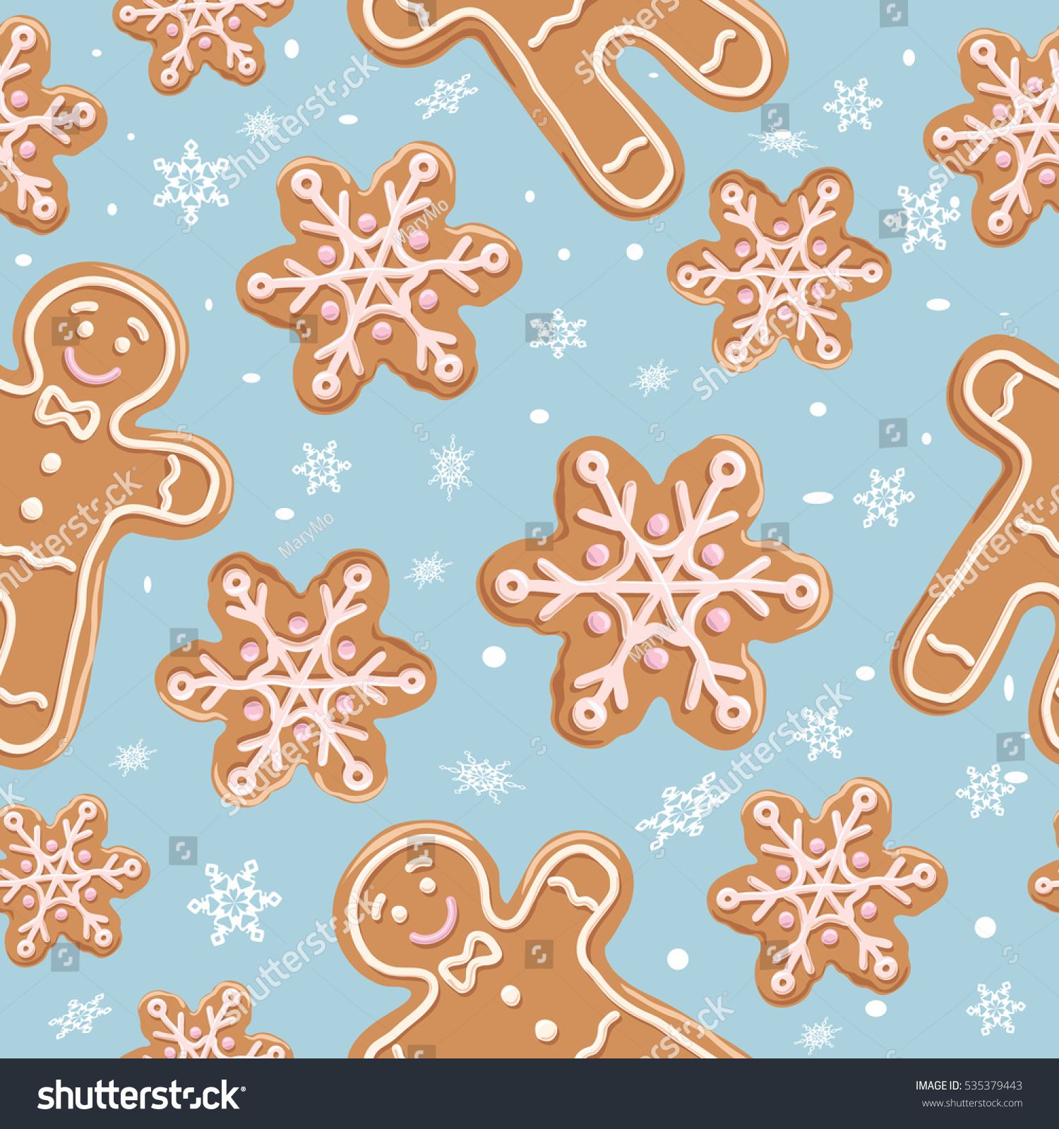stock vector christmas gingerbread seamless pattern ginger cookies on blue background vector illustration 535379443