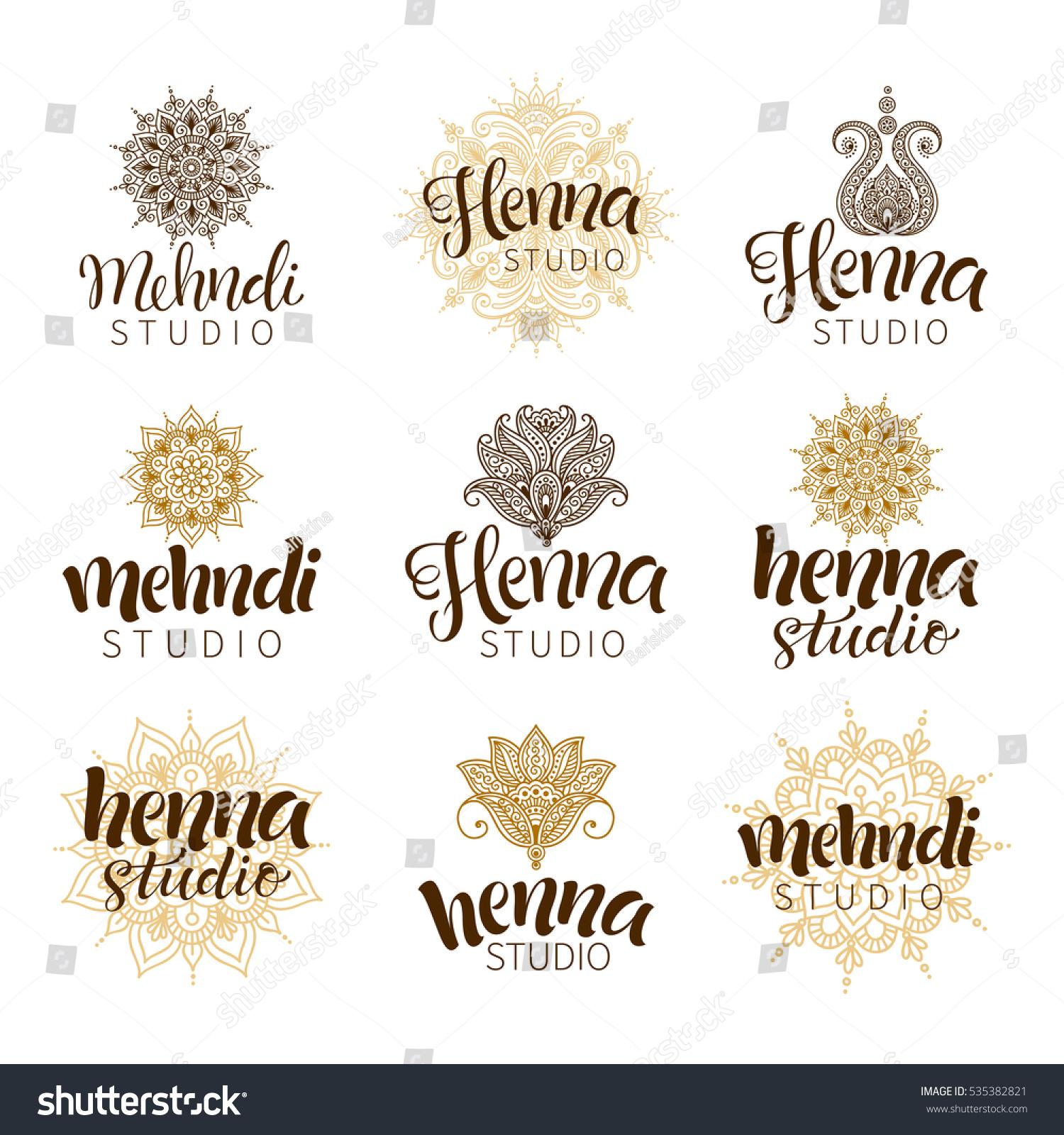 vector illustration mehndi logos traditional indian stock