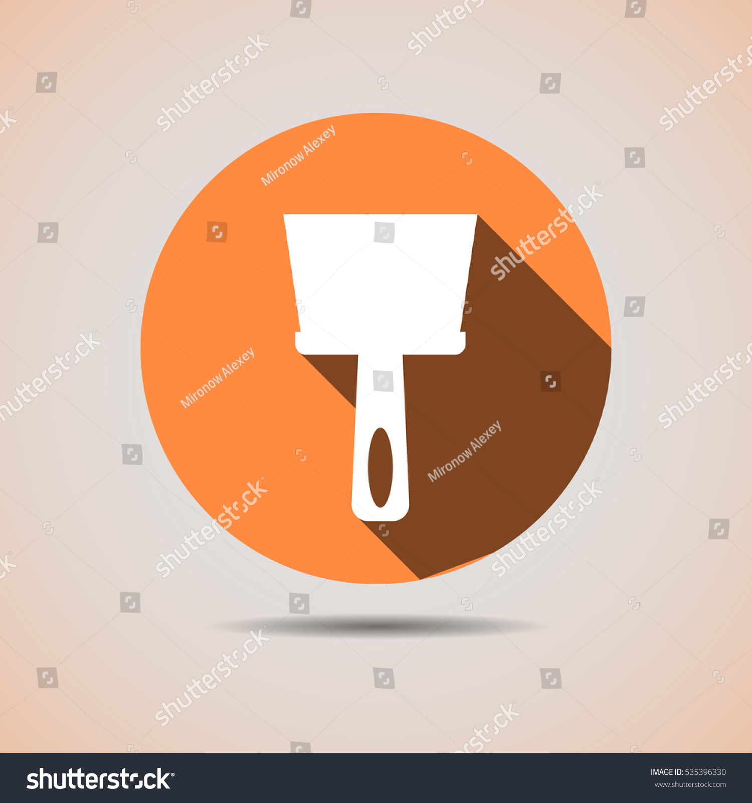Background image align - Construction Trowel Icon To Align The Walls In Orange Background