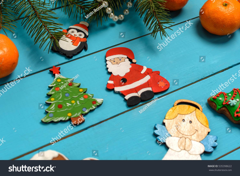 Handmade Wooden Christmas Tree Decorations Santa Stock Photo Edit Now 535398622