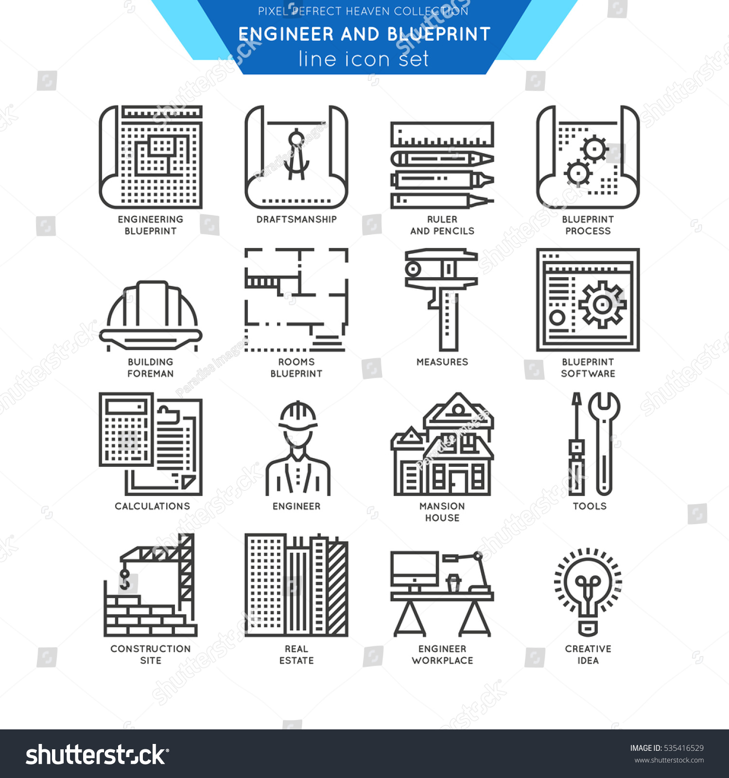 Blueprint And Engineer Line Icon Set  Draftmanship  Tools For Engineering   Software And Workplace. Blueprint Engineer Line Icon Set Draftmanship Stock Vector