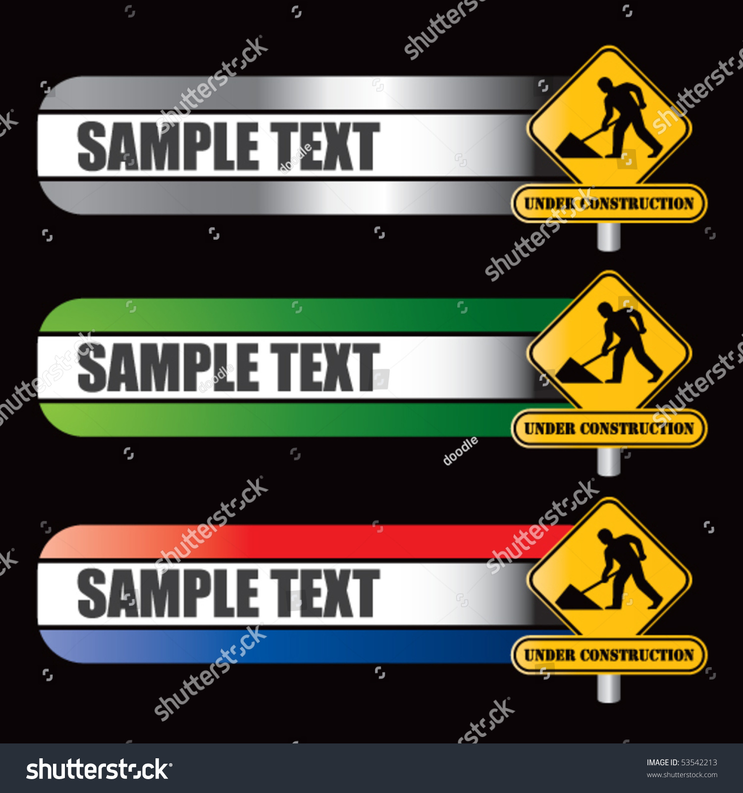 Construction Sign Specialized Banners Stock Vector 53542213
