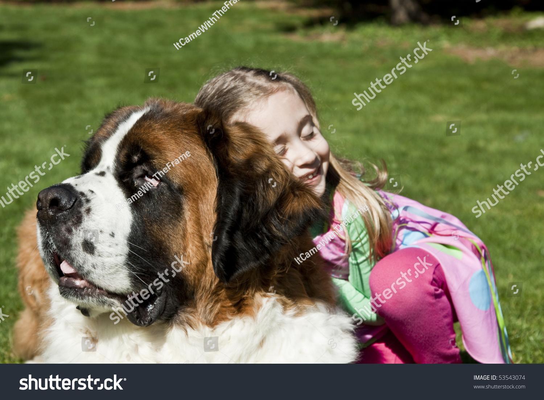Little Girl Hugging Dog Stock Photo 53543074 Shutterstock