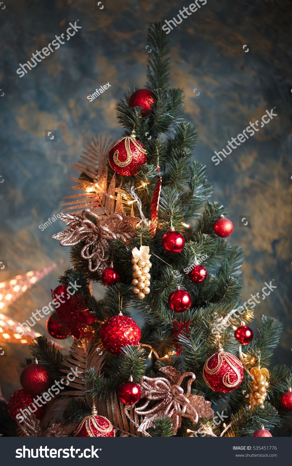 Interior photo christmas tree red yellow stock photo for Red and yellow christmas tree