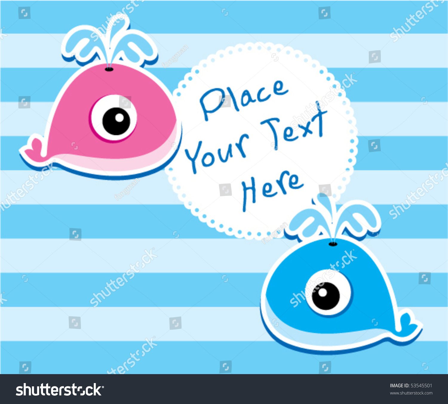Little Cute Whale Baby Couple Twin Stock Vector Royalty Free
