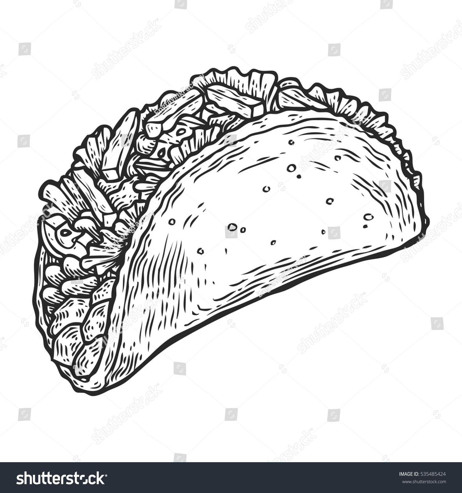 Taco hand drawn pictures to pin on pinterest thepinsta for Nachos coloring page