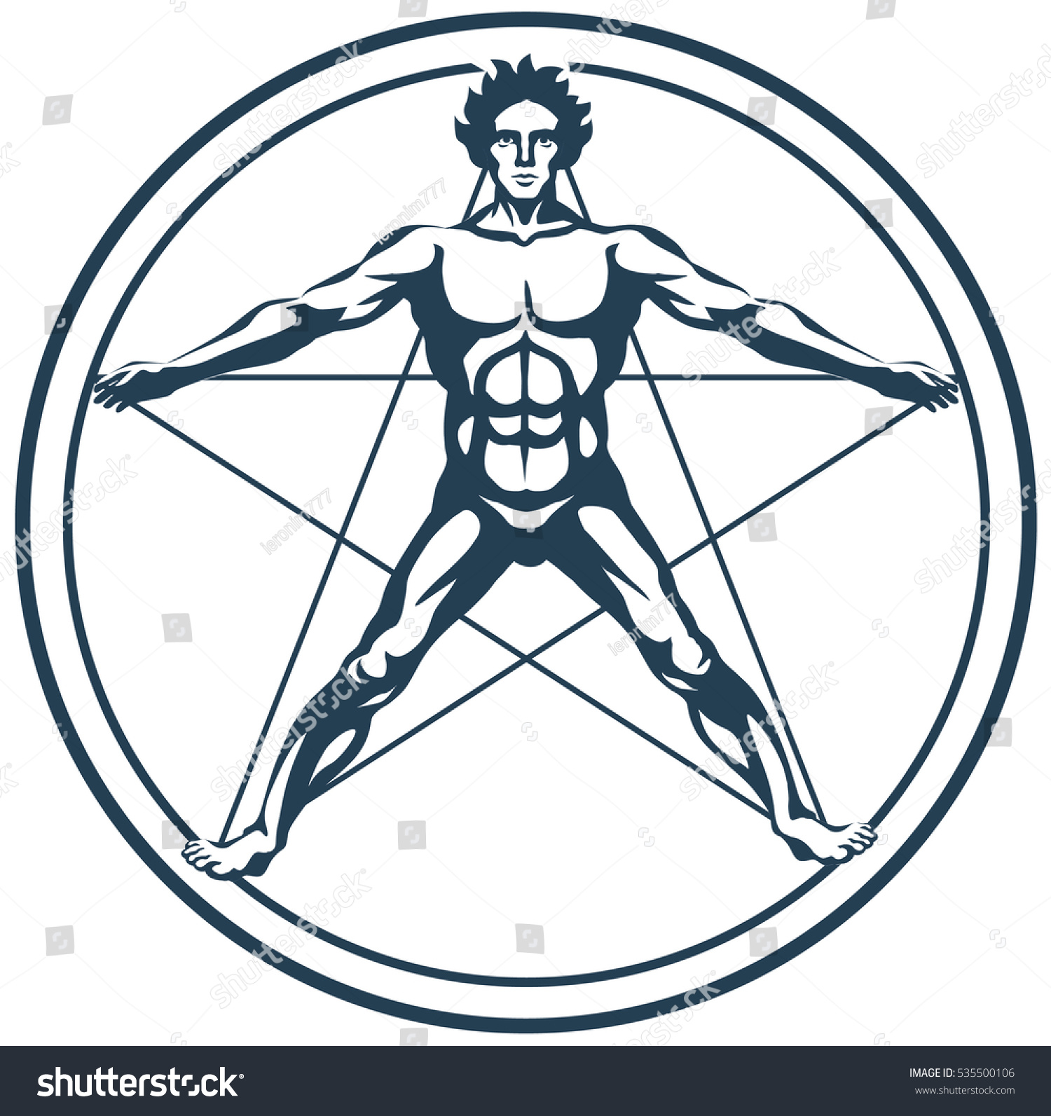 Graphic Illustration Figure Man Inscribed Circle Stock Vector ...