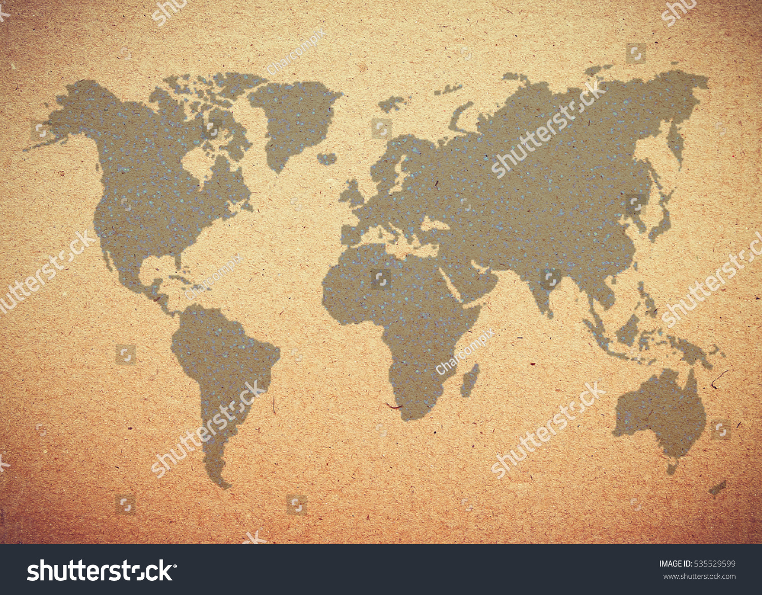 Map World On Brown Crumpled Paper Stock Illustration 535529599 ...
